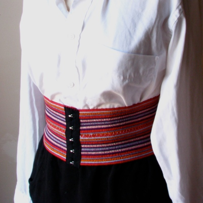 Desira Pesta /  Sophie Wide Belt in Red Stripe / $24