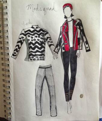 A Jacket/Pants Sketch for a look in the movie